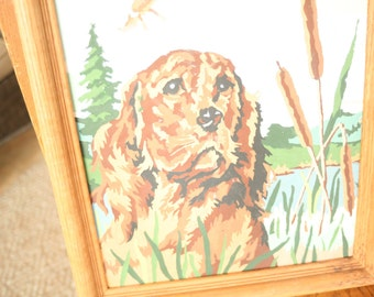 Vintage Paint By Number, Dog, Goose, Color By Number, Hunting, Animals, Nature, Oak Frame