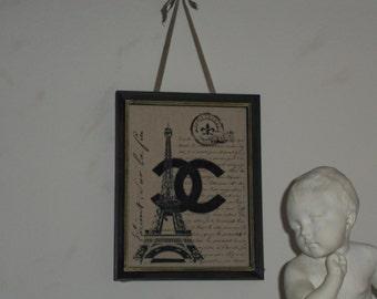 French Inspired Shabby Wood Framed French Print On Beige Linen Ribbon Hanger