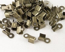 800pcs Antique Bronze Cord Tips Ends Fold Over Ends,  6mm x 3mm x 2mm,  DIY Jewelry Making Supplies and Findings