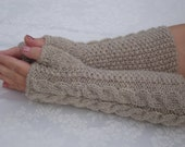 Reserved for Sh.USPS.Fingerless Gloves.Wool Fingerless Gloves Knit.Oatmeal.Long Winter Arm Warmers.Women.