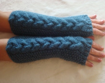 Fingerless Gloves Mittens.Knit Cable Arm/Hand Warmers.Long.Wristers.Soft. Mohair Mitts.Braided Cable.