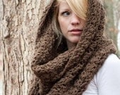 WINTER SALE Chunky Cowl Scarf Shawl Hood - Mocha/Bark - large - limited quantities - the CHARLOTTE