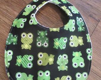 Baby Bib, Baby Boy Bib, Ann Kelle, Urban Zoologie, Frogs, Black, Green