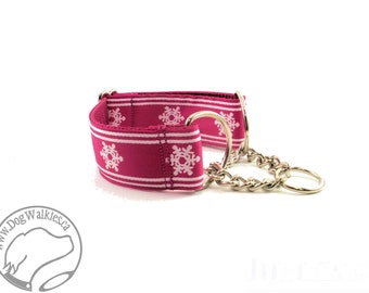 "Winter Wonderland in Bright Pink- 1.5"" (38mm) Wide - Choice of collar style and size - Martingale Dog Collars or Quick Release Buckle"