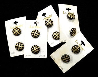 VINTAGE: 10 La Mode Pearly White Plastic Buttons On Cards - Made in Italy - Black and Gold Buttons - (17-A6-00006372)
