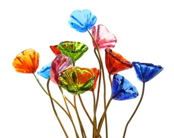 SUPPLY: 14 Colorful Flower Headpin - Glass Drops with Brass Wire - Handcrafted - (5-C1-00004235) OS-5-39