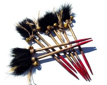 HANDMADE: 2 Mini Blood Red Venom Dart Hair Sticks - Rustic Warrior Wood Hair Sticks - Blood Red Boo Do Hair Picks - (16-A5-00004391)