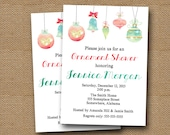 Ornament Shower Invitation | Watercolor Christmas Shower Invitation | DIY PRINTABLE | Sparkling Ornaments Watercolor Bridal Shower Invite