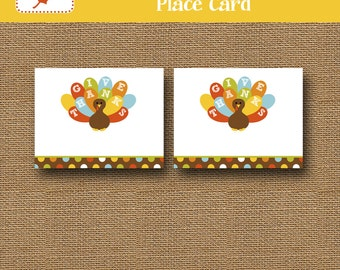 Printable Thanksgiving Place Cards | Colorful Turkey Placecards | Printable Food Tents, Buffet Labels for Thanksgiving | DIY PRINTABLE