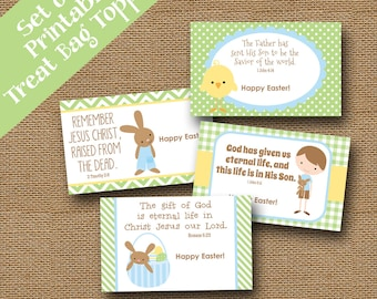 Easter Treat Bag Toppers for Kids | Christian, Easter Scripture, Bible Verse Goody Bag Labels for Boys | Instant Download | DIY PRINTABLE