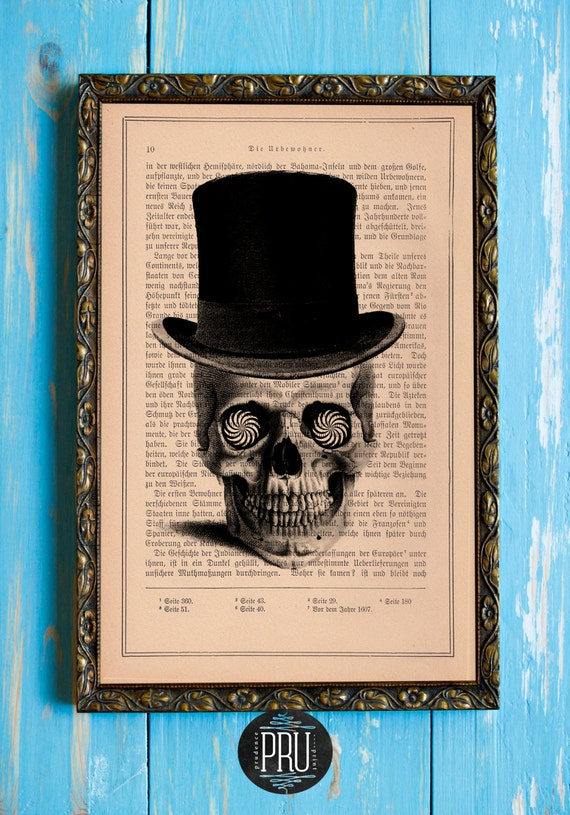 Skull Series -Look Deep Into My Eyes Original Print on an Unframed Upcycled Bookpage
