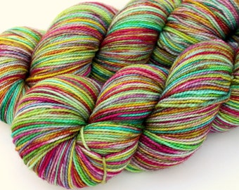 """Kettle Dyed Sock Yarn, Superwash Merino and Silk Fingering Weight, in """"Giverny"""""""
