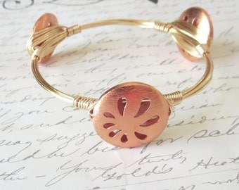 "Genuine Rosy Copper and Gold Bangle Bracelet  ""Bourbon and Bowties"" Inspired"