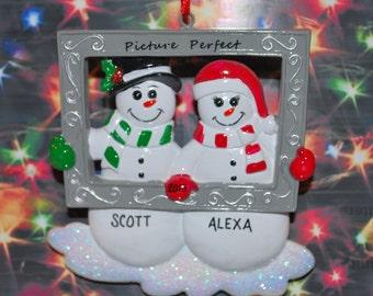 Personalized Snowmen Couple Picture Perfect Christmas Ornament