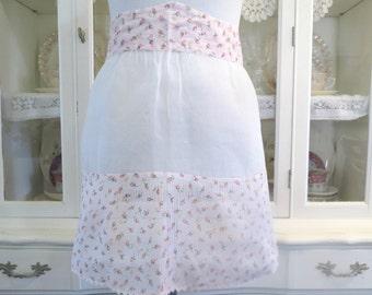 Vintage Hostess Apron, Womens Half Apron, Waist Apron w Pink Rosebuds, 2 Side Pockets, Ladies Vintage Apparel by TheSweetBasilShoppe