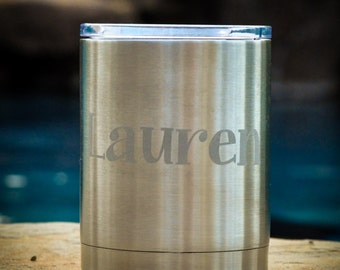 Black Friday Sale, Personalized RTIC or YETI 9 oz Lowball Tumbler, Permanently Etched, Custom Design