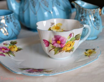 Shelley Begonia Tennis Set With Teacup and Luncheon Plate, English Bone China Snack Set, Wedding Gift, Fluted Teacup,  ca. 1945-1966