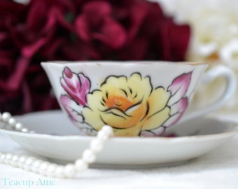 ON SALE Lovely Vintage Shafford teacup and saucer, Japanese Tea Cup and Saucer Set With Yellow Rose, ca. 1940-1970