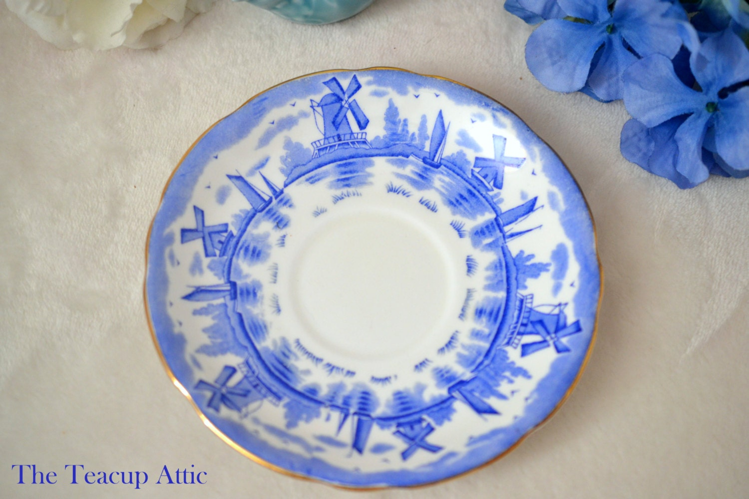 Royal Stafford Blue Windmill Pattern Replacement Saucer Only, English Bone China Saucer, Replacement China,  ca. 1950