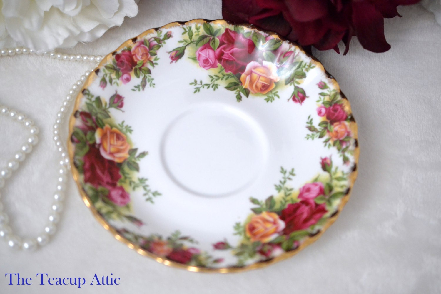 Royal Albert Old Country Roses Replacement Saucer Only, English Bone China Saucer,  ca. 1960-1970