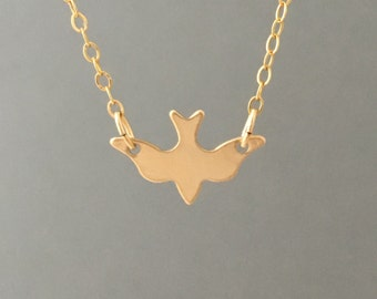Dove Bird Gold Fill Necklace also in Silver and Rose Gold Fill
