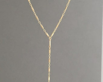 Gold Fill Tiny Bar Chain Lariat Necklace also in Sterling Silver