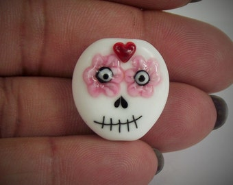 lampwork glass floral and heart skull bead, for jewellery making, charms, Halloween, day of the dead, SRA