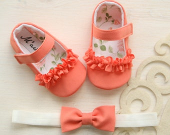 Coral baby shoes, coral orange baby shoes and bow HEADBAND, baby girl ruffle shoes, salmon baby shoes, toddler shoes, soft soles