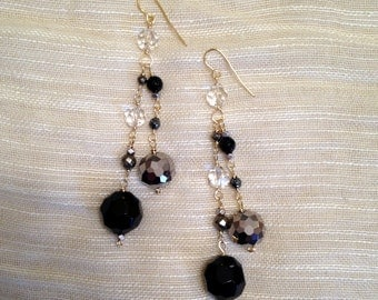 Double Drop Sparkly Gold Pyrite Onyx Crystal Dangle Earrings