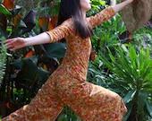 Vintage 60s flower power playsuit / tangerine dream floral romper jumpsuit / hippie romper