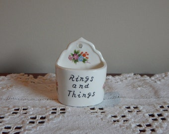 Vintage Ring Holder Ceramic Ring Cup Wall Mount Jewelry Holder Bone China