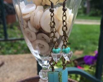 Sea Green glass, Earrings, blue turquoise beads, chains, rhinestone boho, rocker chic, earrings By: Kari Wolf Designs