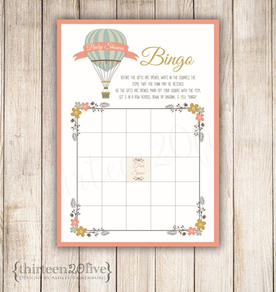 baby shower bingo game hot air balloon diy instant download 013