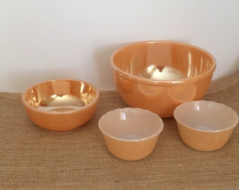 Vintage Peach Luster Bowls Mixing Bowl Cereal Bowl Custard Cups Two Marked Fire King Two Unmarked