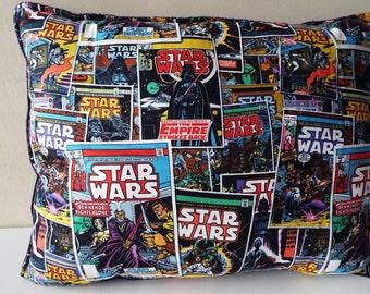 """Star Wars Throw Pillow Soft Navy Fleece Back 16"""" x 20"""""""