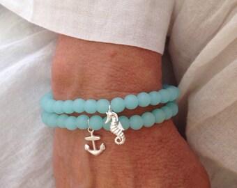 seahorse bracelet, cultured sea glass jewelry, anchor bracelet, beach bracelet, mermaid jewelry, sterling silver bracelet