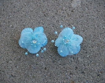 brides hair  Aqua blue flowers - small flowers hair,bridesmaids Aqua blue hair clips - flower gils hair clips, something blue, pageant, baby