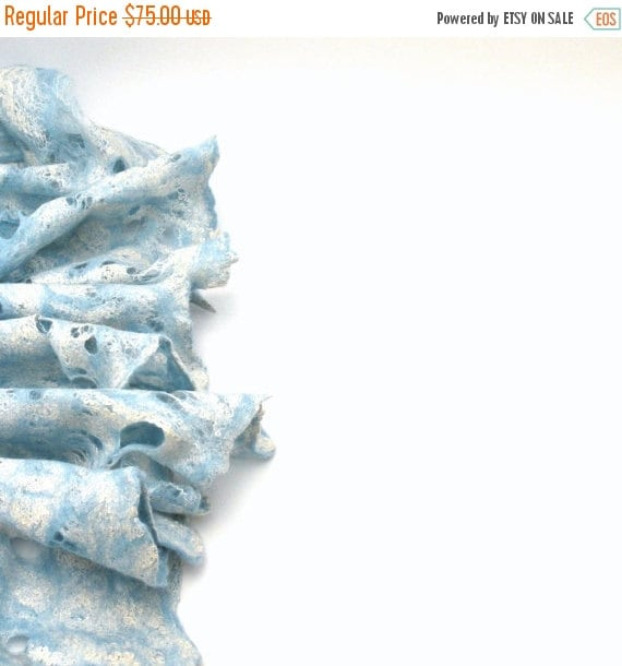SALE Cobweb wet felted merino wool and silk sky blue white scarf - felted scarf - weddings accsessorie - summer sea - made to order