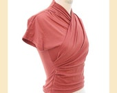 Vintage 1980s 'Whistles' top, ruched crossover style in peach stretch fabric, UK size 10