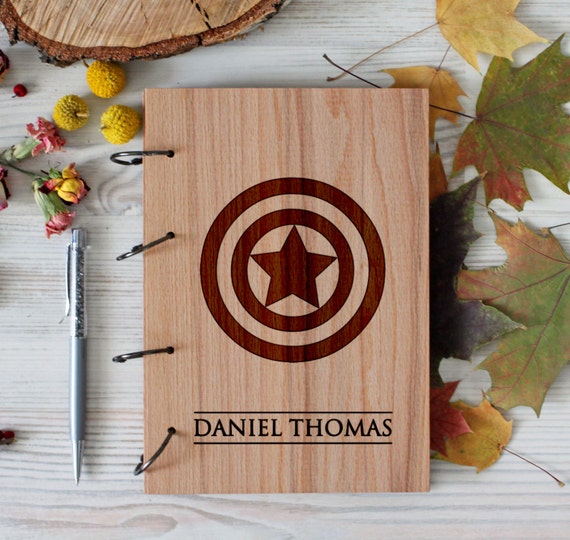 Comic Superhero Wooden notebook - Captain America notebook - Custom Notebook - Personalized Engraved