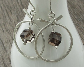 Smoky Quartz Hammered Silver Earrings, Matte Finish Sterling Silver Earrings, Smoky Quartz Earrings, Natural Stone Earrings, E841
