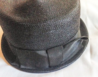 Vintage 1940s Black Grosgrain Bowler Hat / Size 21-22 / Near Mint Condition