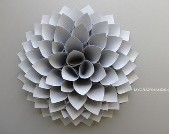texture paper dahlia | 10 1/8'' dahlia wall decor | origami flower door wreath || wedding flower || origami gifts -texture silver gray