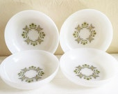 Set of 4 Vintage Fire King Bowls Green Meadow Anchor Hocking White Medium