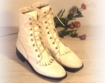 Vintage Cowboy Boots, Justin White Leather Lacer Ropers, Women's 6.5 B