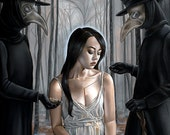 ONLY ONE LEFT! Super Limited Surreal Girl with Plague Doctors in Forest Dark Fantasy A3  Art Print
