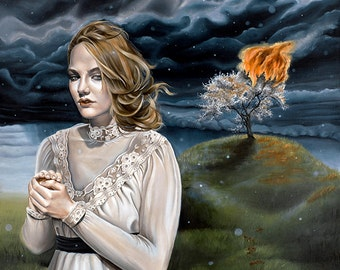 Super Limited Surreal Girl with Stormy Skies Fantasy Cherry Blossom Tree A3 Art Print