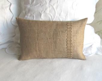 burlap lumbar pillow with decorative burlap zig zag trim 12 x 18