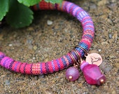 Woven Bracelet Hummingbird Pink Bead Bracelet Stamped Jewelry Hippie Boho Recycled Glass Purple Rustic Charm