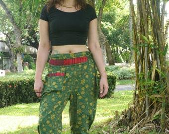 Thai Tribe Pants, Cotton, Akha / Hmong Style iin Green and Cream